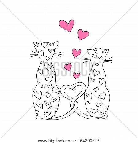 Hand drawn decorated with hearts couple cartoon cat. Image for Valentine card romantic holiday adult and kids coloring book page print for decorate t-shirt tunic bag dishes. eps 10.