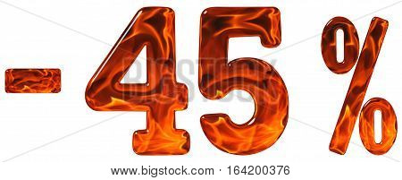 Percent Off. Discount. Minus 45, Forty Five  Percent, Numerals Isolated On White Background