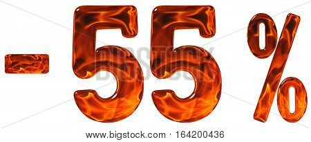 Percent Off. Discount. Minus 55, Fifty Five  Percent, Numerals Isolated On White Background