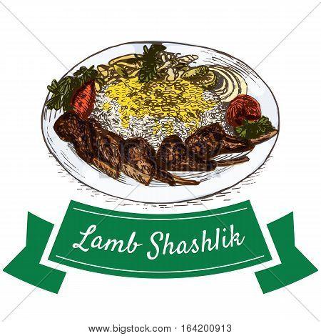Lamb Shashlik colorful illustration. Vector illustration of Persian cuisine.