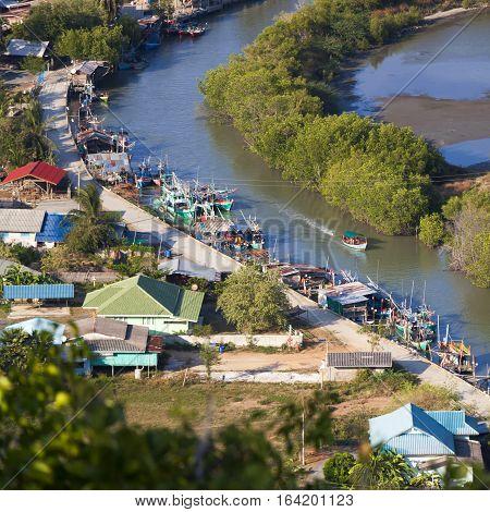 River in Prachuap Khiri Khan Province of Thailand