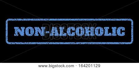 Blue rubber seal stamp with Non-Alcoholic text. Vector tag inside rounded rectangular shape. Grunge design and scratched texture for watermark labels. Horisontal emblem on a black background.