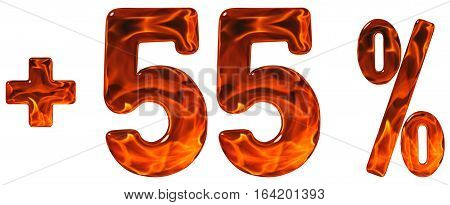 Percent Benefits, Plus 55, Fifty Five Percent, Numerals Isolated On White Background