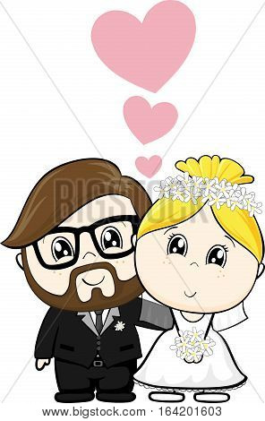 wedding cartoon characters with hearts isolated on white background