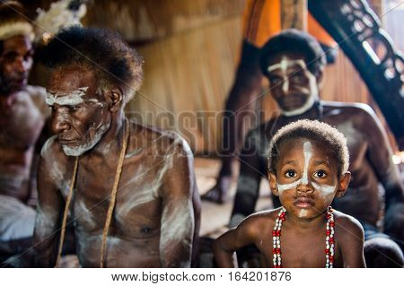 Youw Village, Atsy District, Asmat Region, Irian Jaya, New Guinea, Indonesia - May 23, 2016: The Asm