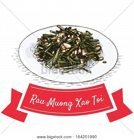 Rau Muong Xao Toi colorful illustration. Vector illustration of Vietnamese cuisine.