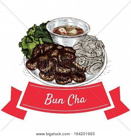 Bun Cha colorful illustration. Vector illustration of Vietnamese cuisine.