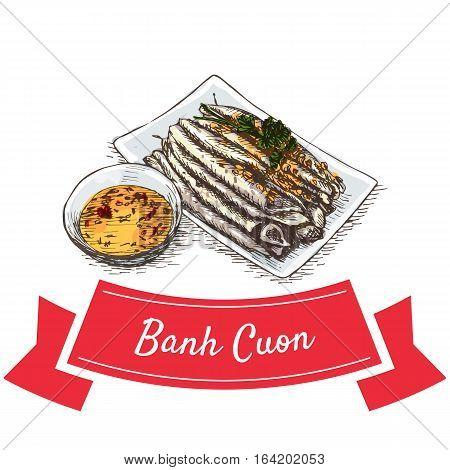 Banh Cuon colorful illustration. Vector illustration of Vietnamese cuisine.