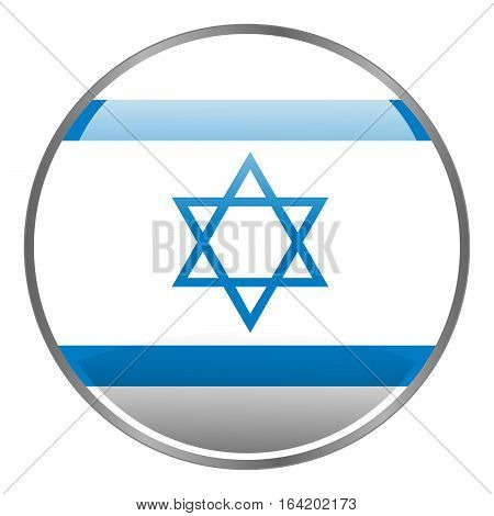 Round glossy isolated glow vector icon with national flag of Israel on white background.