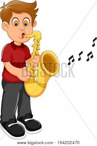 funny boy cartoon playing trumpet for you design