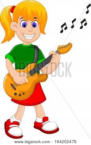 funny girl cartoon playing guitar for you design
