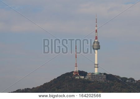 SEOUL SOUTH KOREA - OCTOBER 22, 2016: N Seoul Tower. N Seoul Tower also known as Namsan Tower is a communication and observation tower located on Namsan Mountain.