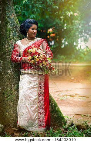 KANDY, SRI LANKA. July 24, 2016: An indian bride in a park near a tree in Kandy in Sri Lanka. She wears Saree typical Indian bridal dress women. With bouquet of flowers in hands.