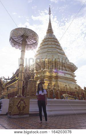 Asia woman at Wat Phra That Doi Suthep, Chiangmai Thailand