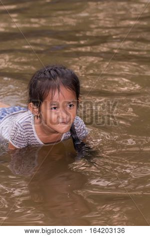 asia girl in rive r, Chiangmai Thailand