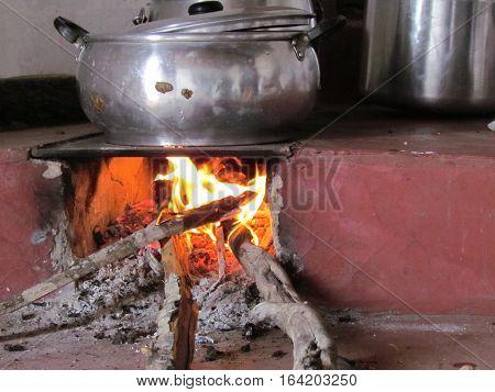 rustic wood burning stove in brazilian northeast