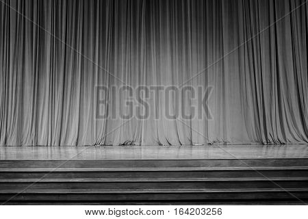 Curtains And Wooden Stage.