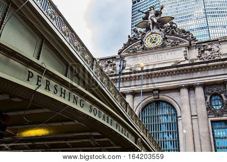 New York, August 30, 2016: An overpass at the Pershing Square at the main entrance to the Grand Central terminal in New York City.