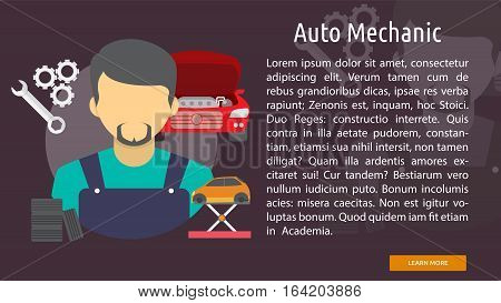 Auto Mechanic Conceptual Banner | Great flat illustration concept icon and use for mechanic, car repair, industrial, transport, business concept, and much more.