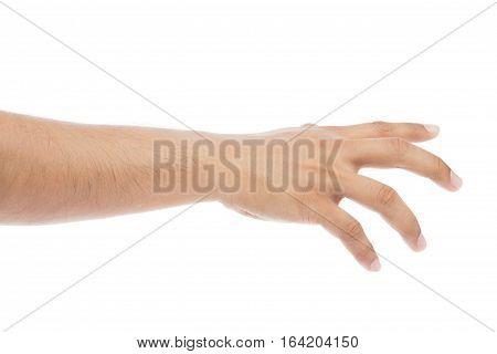 Grab, Empty man hand on white background