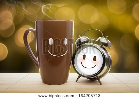 Brown mug and alarm clock with a happy smile Good morning or Have a happy day message concept