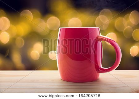 Red coffee cup Good night or Have a happy day message concept