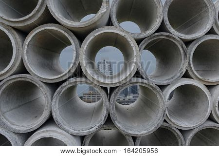 Concrete drainage pipes for industrial building construction