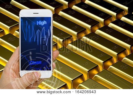 Concept of using smartphone or smart device to monitor real time fluctuation of gold price in trading market.