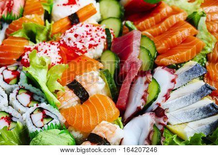 Sushi Set. Different sashimi sushi and rolls