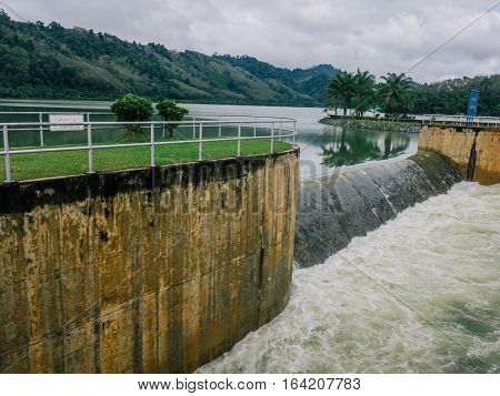 flood water overflow dam and beautiful view