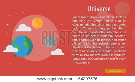 Universe Conceptual Banner | Great flat illustration concept icon and use for space, universe, galaxy, astrology, planet and much more.