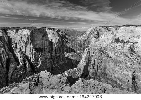 View from Observation Point in Zion National Park showing the Virgin River canyon photographed in black and white.