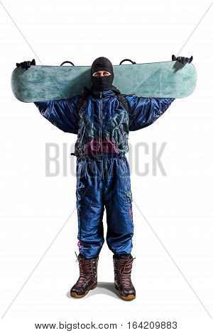 rider with snowboard isolated on white background