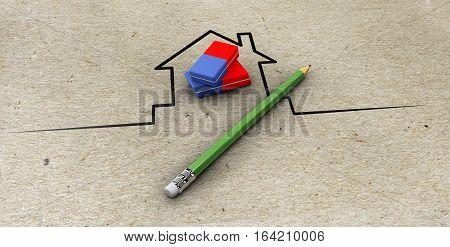 3d Illustration of Real estate model, with pencil and eraser paper background