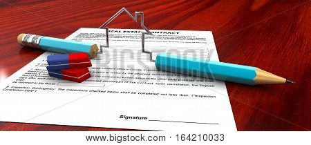 3d Illustration of Real estate contract pencil and eraser model on a table