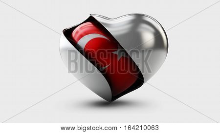 3d Illustration of Turkey flag love heart concept with the Turkish flag in a heart shape