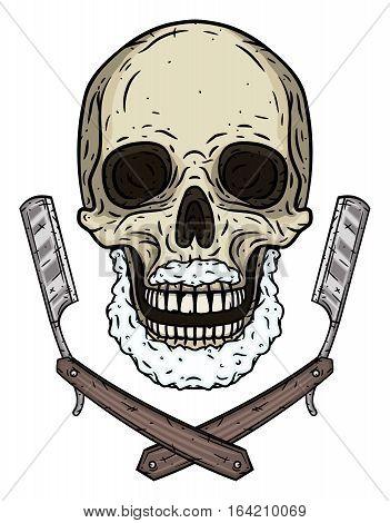 Skull with two shaving blades. Cartoon skull