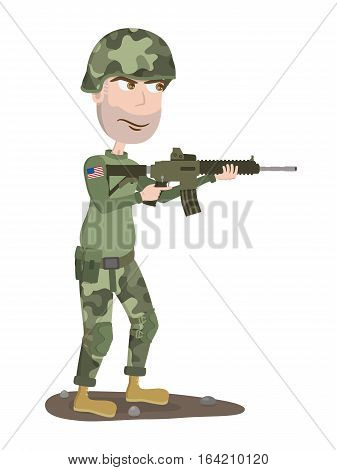 Soldier. American soldier with gun. Cartoon soldier