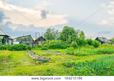 Russian house with garden at old traditional village, The Urals