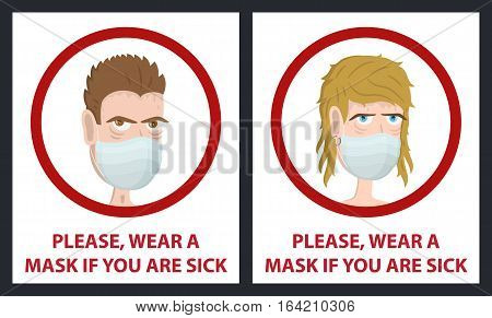 Man and woman wear medical mask. Hygiene mask. Virus protection