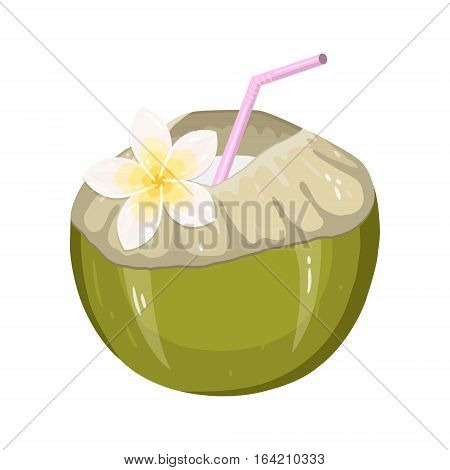 Coconut Water Drink. Green fresh drinking coconut with a straw and a frangipani flower isolated on white background