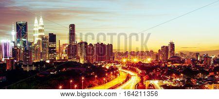 Dramatic scenery of the Kuala Lumpur city at sunset