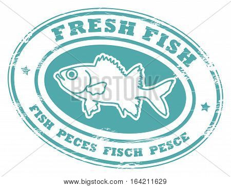 Grunge rubber stamp with small stars, fish shape and the word Fresh fish written inside, vector illustration
