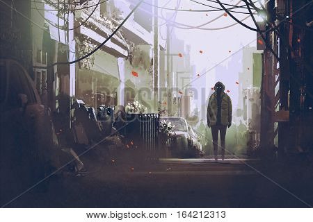 mysterious man standing on city street illustration painting
