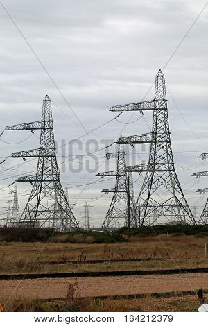 Pylons carrying electricity cables to Dungeness Power Station