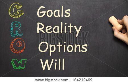 Conceptual GROW acronym written on black chalkboard blackboard. goals reality options will. life coaching motivation. Slide template.