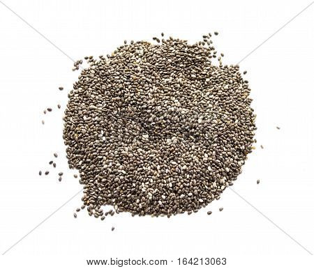Organic dry chia seeds isolated on a white background. Nutritious chia seeds background. Top view on chia seeds