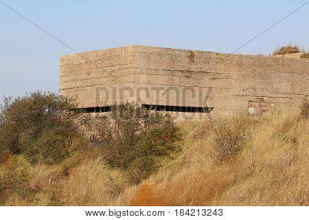 World War 2 concrete pill box at Camber Sands