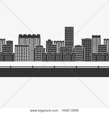 Vector Illustration seamless pattern The City Buildings