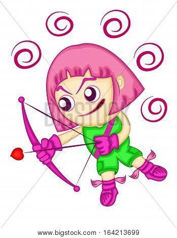 Cute Chubby Cupid Angel with Bow and Arrow Aiming